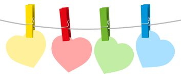 Hearts Clothes Pins Colored stock images