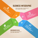 Four colored pentagon business infogrpahic with blank square on center Stock Images