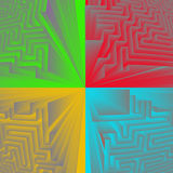 Four colored pieces of maze structure Stock Photography