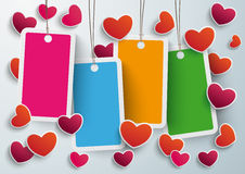 Four Colored Price Sticker Hearts PiAd. Four colored price stickers on the grey background. Eps 10  file Stock Photo