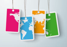 Four Colored Price Stickers World Map. Four colored price stickers on the grey background Royalty Free Stock Photos