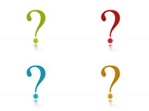 Four colored question marks on white Stock Images