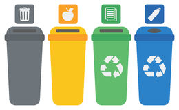 Four colored recycling bins. Royalty Free Stock Photo