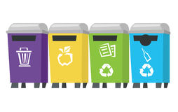 Four colored recycling bins vector illustration. Royalty Free Stock Photo
