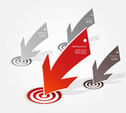 Four colored red and grey paper arrows Royalty Free Stock Photo