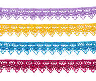 Four colored satin lace. Royalty Free Stock Photo