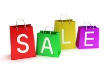 Four colored shopping bags promote sale - 3d Stock Image