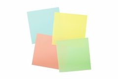 Four colored sticky notes Royalty Free Stock Image