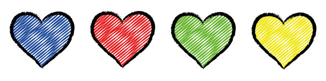 Four colored stylized hearts. Five hearts colored with bright primary colors Stock Photography