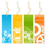 Four colored tags with technology theme on a leash. Vector illustration of four colored techonology-themed retail tags on a leash Stock Photos