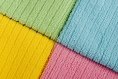 Four colored terry towels Royalty Free Stock Photography