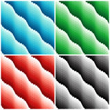 Four colored wavy seamless patterns Stock Photo