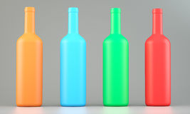 Four colored wine bottles Stock Photo