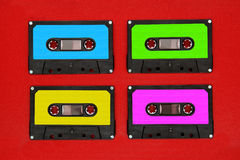Four colores tape cassettes Royalty Free Stock Photos