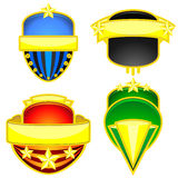 Four colorful badges Stock Photos
