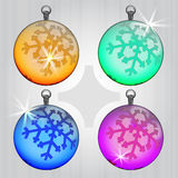 Four colorful ball decoration with snowflake Royalty Free Stock Images