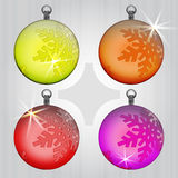Four colorful ball snow decoration motive Royalty Free Stock Images