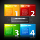 Four colorful banner, numbered from one to four, related to the main idea. Stock Images