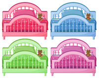 Four colorful beds Stock Images