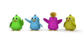 Four colorful birds have fun Stock Photography