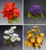 Four colorful bouquet of fabric flowers Stock Photo