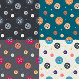 Four colorful button seamless  patterns Stock Image