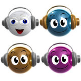 Four colorful character figure with headphone Stock Photos