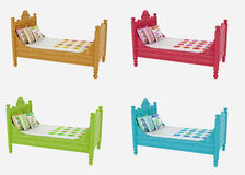 Four Colorful Children's Beds Stock Photo
