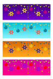 Four colorful christmas headers Stock Photography