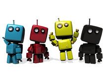 Four colorful CMYK robots. A group of Four funny 3D rendered robots; CMYK (cyan, magenta, yellow, Key Black royalty free illustration
