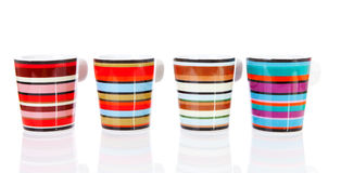 Four colorful coffee cups Royalty Free Stock Photography