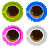 Four colorful coffee cups Stock Images