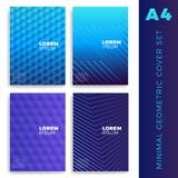 Four colorful covers collection in flat design. Vector poster of. Bright brochures or leaflets royalty free stock photography