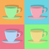 Four colorful cups Stock Images
