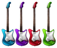 Four colorful electric guitars Stock Photo