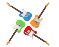 Four colorful electric guitars. On white background Royalty Free Stock Photo
