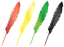 Four colorful feathers Stock Images