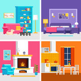 Four colorful flat rooms vector illustrations to infographic and banner design. Living room, bedroom, kitchen with interior design and furniture vector flat Stock Image