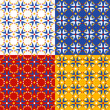 Four colorful floral patterns Royalty Free Stock Photography