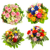 Four colorful flowers bouquet on white Stock Photography