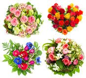 Four colorful flowers bouquet on white Stock Image