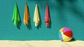 Four colorful fluffy towels hanging on the turquoise brick-like wall with a beach ball on sand, symbolizes vacations, holidays stock illustration