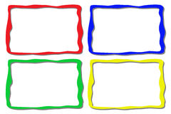 Four colorful frames. Isolated on white Stock Photos