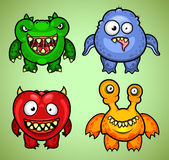 Set of four funny monsters variation 2 Royalty Free Stock Photos