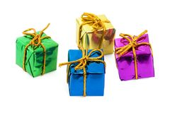 Four colorful gifts. On a white background Royalty Free Stock Image