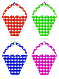 Four Colorful Gingham Baskets. Isolated on white background Royalty Free Stock Image