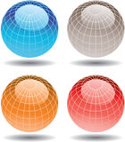 Four colorful glass globes. A collection of four three-dimensional and colorful world globes Stock Photo