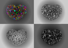 Four colorful heart  with pattern Stock Image