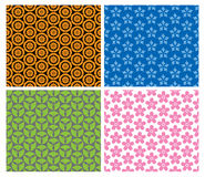Four colorful Japanese patterns Stock Photography
