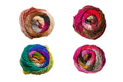 Four colorful knitting yarn balls Royalty Free Stock Photography